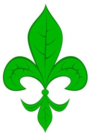 Fleur de lis with leaf pattern Illustration
