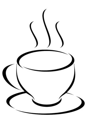 A black tribal cup of steaming coffee  Çizim