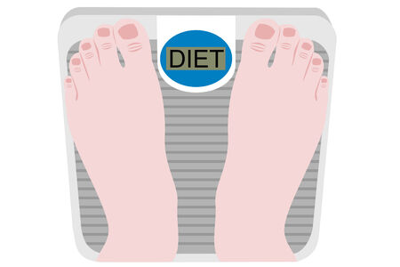 Feet on a scale reading diet