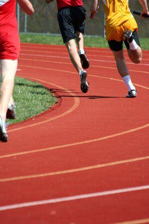 Hardlopers lopen in een track race