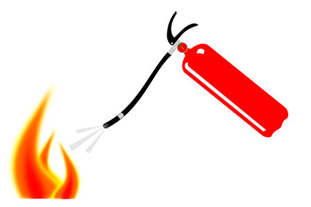flame: A red fire extinguisher putting out flames Illustration