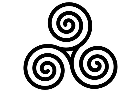 The celtic triple spiral or triskele Illustration