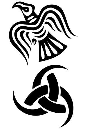 2 つのバイキングのシンボルのセット  イラスト・ベクター素材