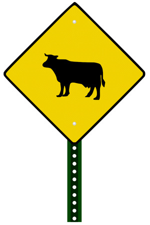 A Isolated cattle crossing sign on white background Illustration
