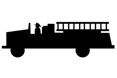 camion pompier: A Fire Truck silhouette sur fond blanc Illustration