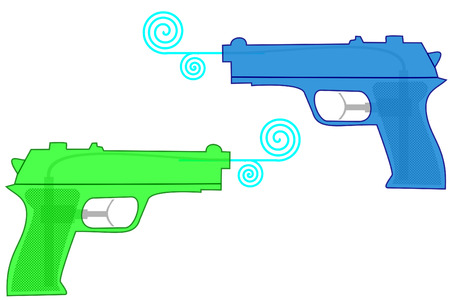 squirt: istolated plastic water guns on white Illustration