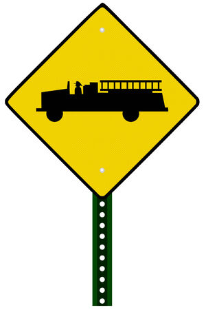 A Isolated fire truck sign on white background Vector