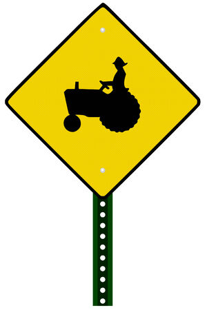 tractor warning: Isolated Tractor Sign on white background Illustration