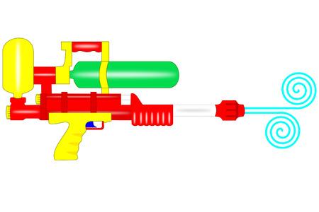 Een istolated plastic waterpistool op wit