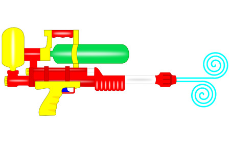 A istolated plastic water gun on white