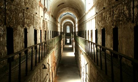 A old historic prison cellblock Stock Photo