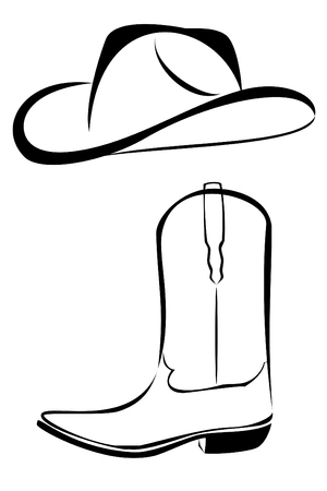 A tribal western set cowboy hat and boot tattoo Stock Vector - 5456711