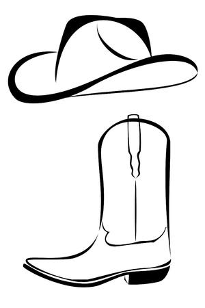 Een tribale westerse set cowboyhoed en boot tattoo