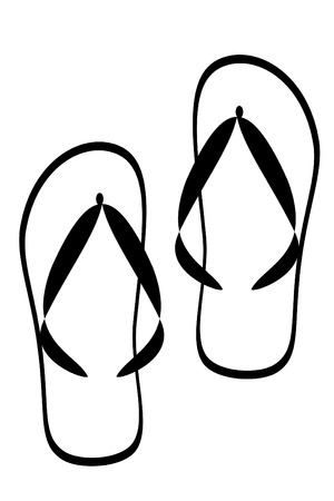 Black tribal flipflop shoe tattoo Illustration