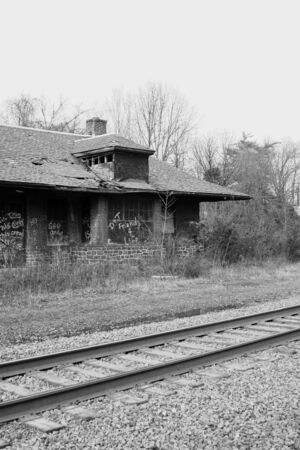 railway transportation: A Old abandoned train station Stock Photo