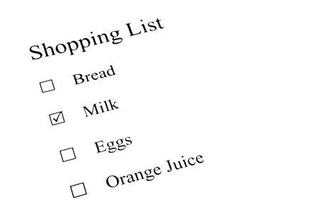 A shopping check list paper