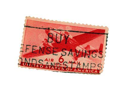 격리 된 미국 우표 항공 우편 스탬프
