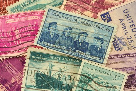 postage: A US postage stamps background