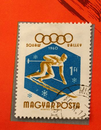 1960 Olympic skiing Stamp 에디토리얼