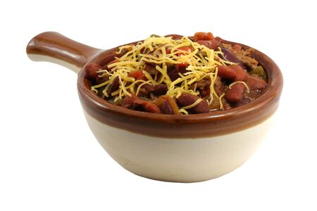 A isolated crock of chili with cheese photo