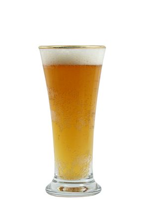 pilsner glass: A isolated pilsner glass of beer