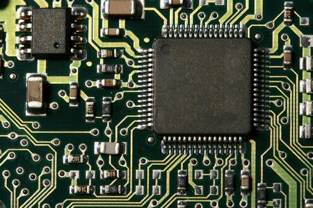 A circuit board with computer chip