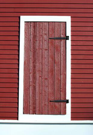 A Red barn door photo