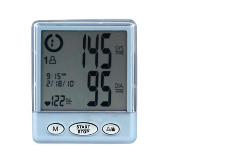 blood pressure monitor: A Blood pressure monitor with a high reading Stock Photo