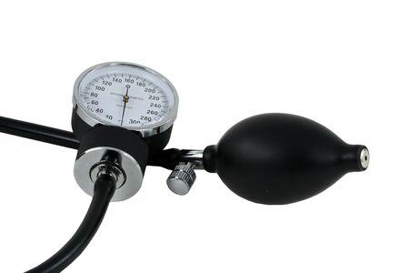sphygmonanometer: A sphygmomanometer and bulb for taking blood pressure