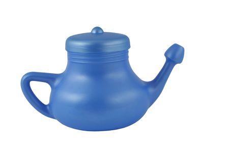 Een geïsoleerde blauwe neti pot Stockfoto