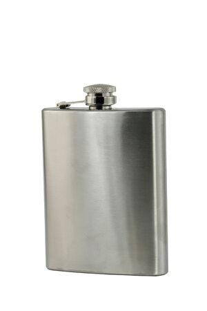 A isolated whiskey flask on white