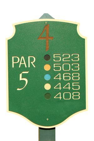 par: A Isolated golf par 5 sign
