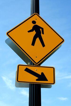 A Pedestrian crosswalk sign Stock Photo