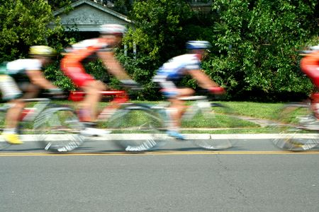 A Blurred motion bicycle race photo