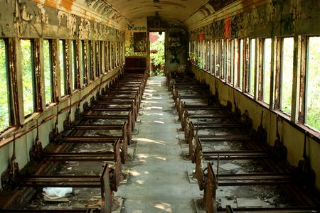 A Old abandoned passenger train car