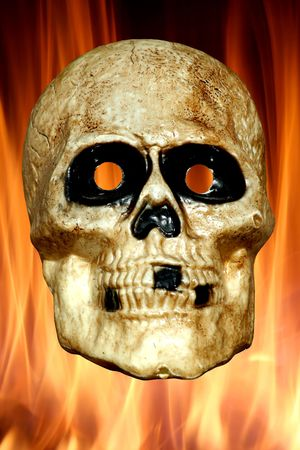 A Scary skull with fire background