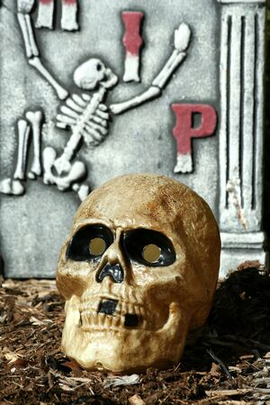 A Scary skull with gravestone