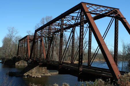 railway transportation: A Old railroad bridge Stock Photo