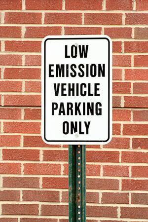 emission: A Low emission vehicle parking sign Stock Photo