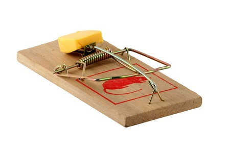 Isolated mouse trap on white Stock Photo - 9179046