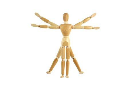 Een houten oefenpop Vitruvian Man