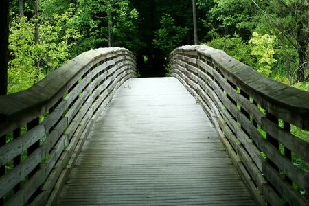 a Wooden bridge through the forest Imagens