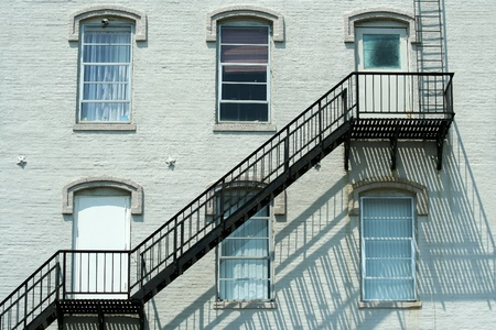 A Fire escape on the side of a building photo