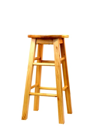 stool: a isolated wooden barstool