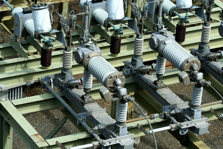 A industrial electric transformer substation Stock Photo - 13558425