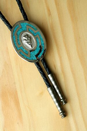 Silver and turquoise bolo tie photo