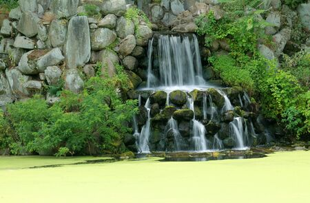 A waterfall on a algae covered pond Imagens