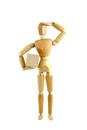 male mannequin: Wooden manikin with package Stock Photo