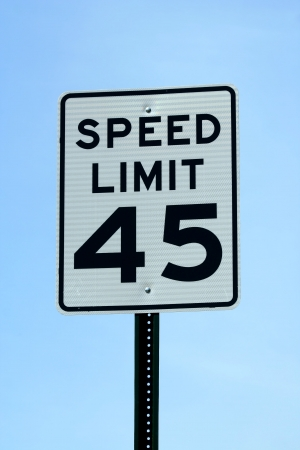 mph: A Forty five mph speed limit sign Stock Photo