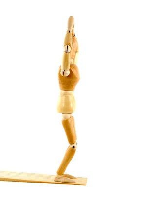マネキン ダイビング木製モデル 写真素材